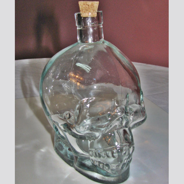 Bling crystal head skull vodka empty bottle 750ml cork decanter beverage holder