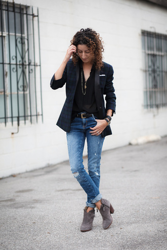 alterations needed blogger jacket blouse jeans shoes jewels belt blazer ankle boots grey boots black blouse
