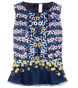 top embroidered silk blue