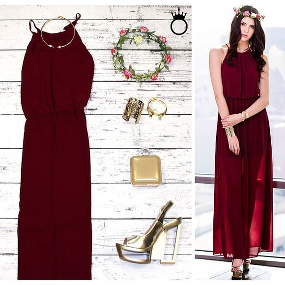 floral headband dress red burgundy goldjewelry
