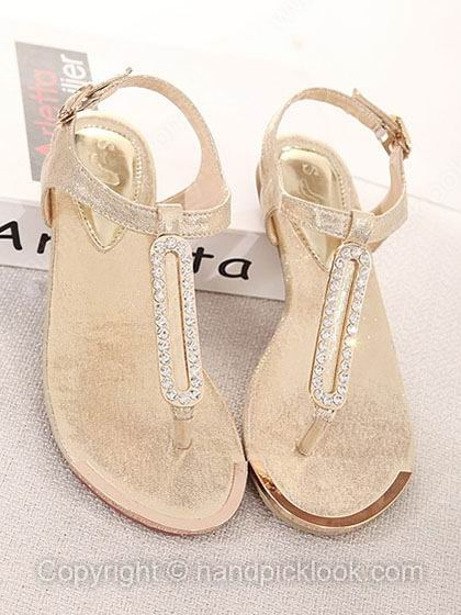 Gold leatherette women's sandals peep toe flat heel with beading shoes