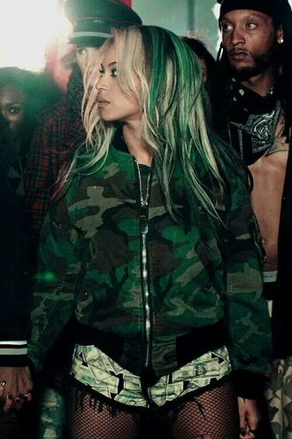 jacket beyonce camouflage green hair