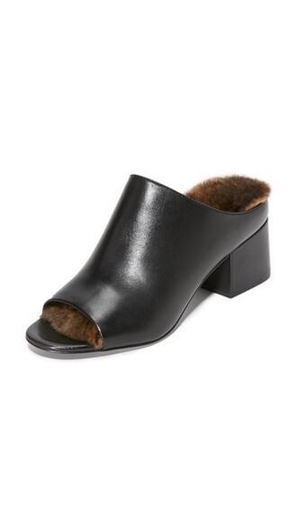 fur mules black shoes