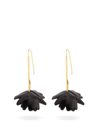 embellished earrings leather black jewels