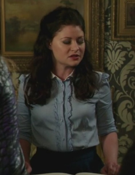 shirt blue stripes ruffle poplin blouse once upon a time show belle emilie de ravin