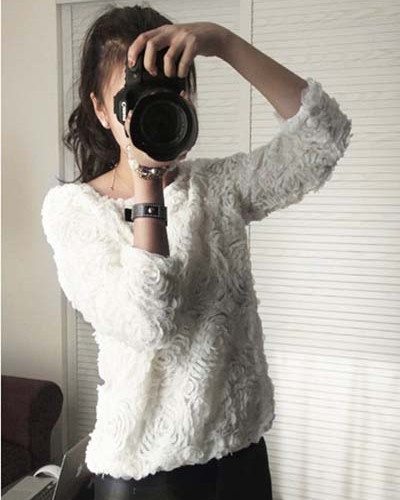 Hot Fashion Vintage 3D Rose Flower Mesh Applique Jumper Pullover Shirt Top J | eBay