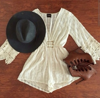 romper lace romper long sleeves floral romper beautiful chic boho boho chic light brown heels shoes hat