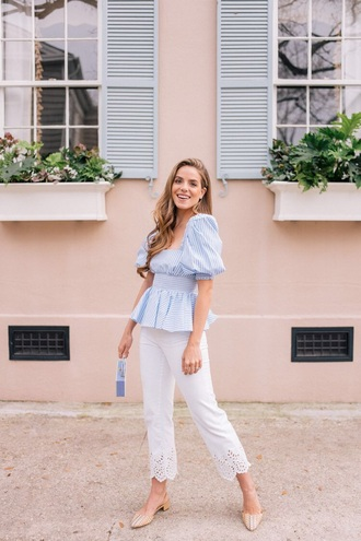 top blue top striped top pants white pants cropped pants shoes spring outfits flats