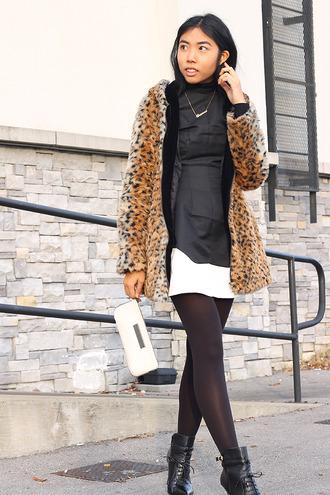fashion of a novice blogger coat faux fur black boots