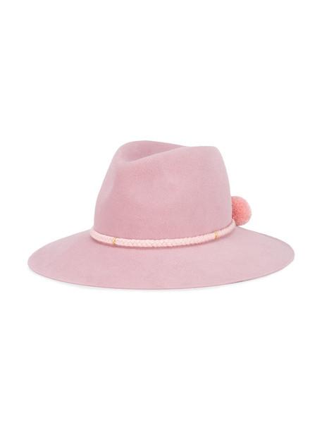 Yosuzi Nella pom pom fedora hat - Pink & Purple