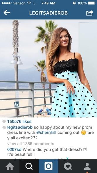dress blue dress polka dots black