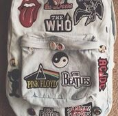 bag,stitch,tumblr,backpack,grunge,band,white,girl,back to school,hipster,acdc,the beatles,pink floyd,celebrity