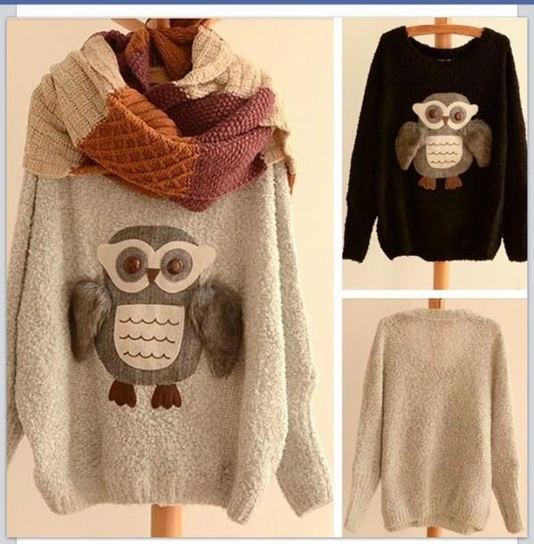 Cute owl fashion hot sweater
