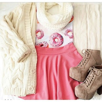 shirt t-shirt cardigan scarf tank top skirt shoes donut tumblr outfit pink skirt wanelo
