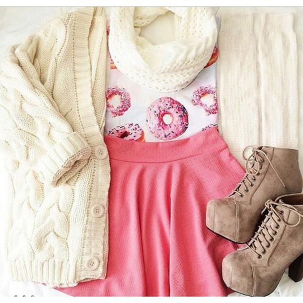 shirt t-shirt cardigan scarf tank top skirt shoes donut tumblr outfit pink skirt wanelo