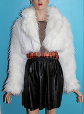 coat,white,90s style,fur,fur coat,fluffy,cropped,cropped jacket,fur jacket,warm,pearl white,vintage,leather fur black jacket,shaggy coat,woodstock