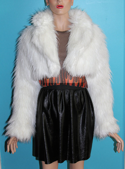 white cropped coat 90s fur fur coat fluffy cropped jacket fur jacket warm pearl white vintage, shaggy coat, coat, woodstock leather fur black jacket