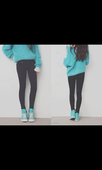 turquoise top sweater oversized sweater sky blue sweat