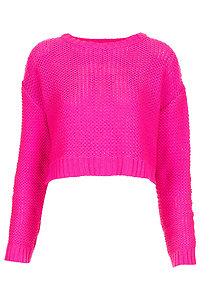 Topshop pink knitted tape yarn crop jumper uk8