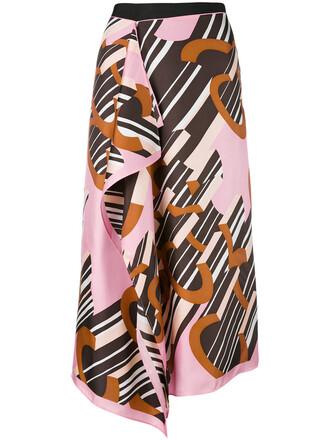 skirt women print black silk