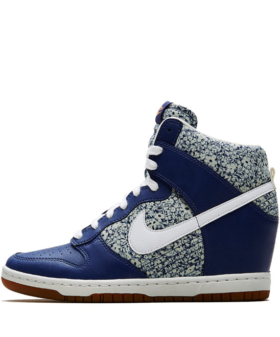 Nike x Liberty Dark Blue Anoosha Liberty Print Dunk Sky Hi Wedge trainers | Trainers by Nike x Liberty | Liberty.co.uk
