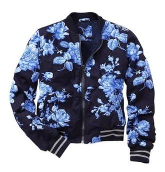 jacket bomber jacket roses blue college