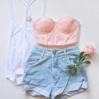 shorts blue jeans summer spring 2015 cute crop tops pastel pink underwear