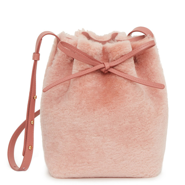 Mansur Gavriel Shearling Mini Bucket Bag - Blush