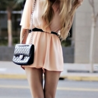 dress chanel romper purse bag peach dress short peach dresses