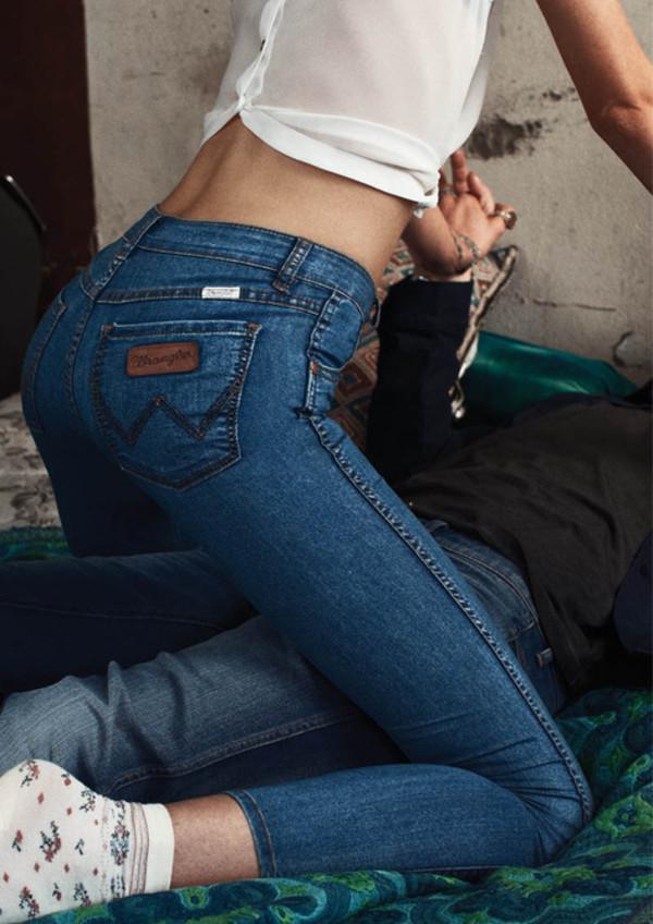 jeans blue skinny jeans underwear blouse