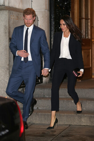jacket blazer black blazer black and white meghan markle prince harry menswear mens suit pants blouse