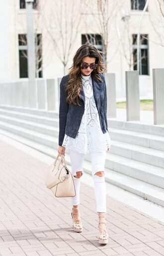 jeans white shirt leather jacket pink bag distressed white jeans white heels blogger sunglasses