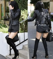 shoes,high heels,over the knee boots,kylie jenner,black