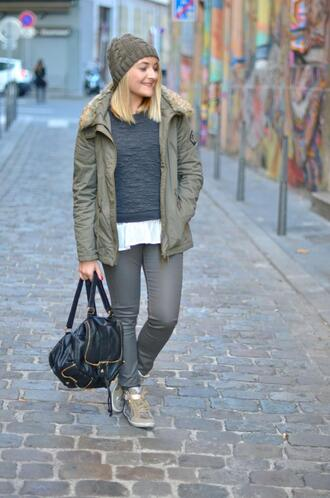 paris grenoble blogger top parka grey sweater leather backpack knitted beanie sneakers
