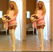 sweater,long sweaters,lace,pink