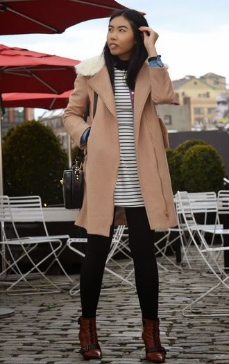 fashion of a novice blogger brown leather boots camel coat striped dress