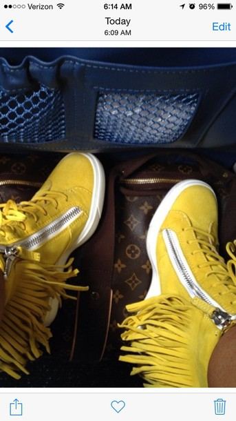 shoes sneakers chrissy lampkin yellow fringes