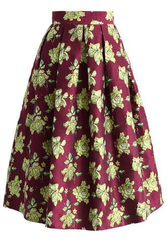 skirt golden flowery midi skirt in wine chicwish midi skirt floral skirt wine printed skirt