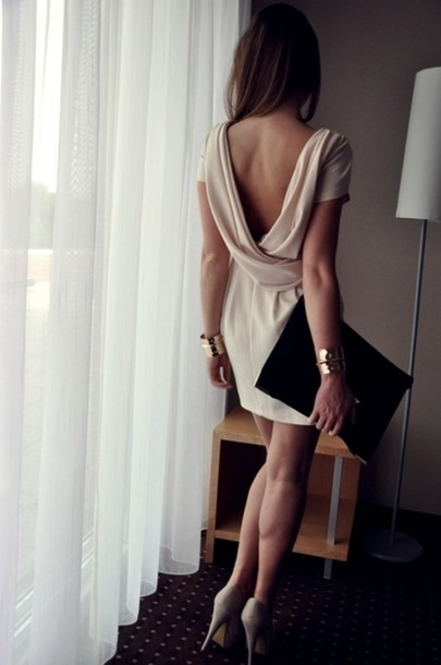 prom dress dress open back backless beige vback v-back short sleeve drape back wrap back short dress homecoming classy beige dress clothes brands bloggers boutique fashion backless dress cream dress draped dress cream formal prom prom dresses short prom dress wedding open back dresses