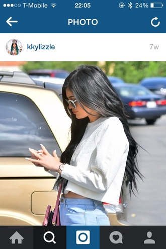 top kylie jenner kardashians white crop crop tops long sleeve crop top jeans hair accessory sunglasses shoes phone cover