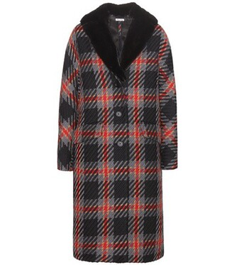 coat plaid fur