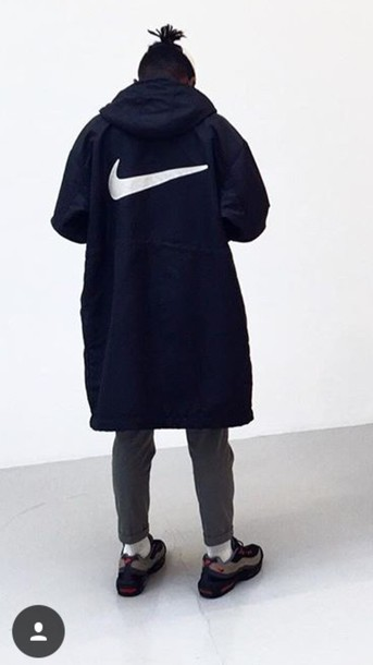 Coat Black Nike Jacket Long Nike Black Coat Jacket Black Black