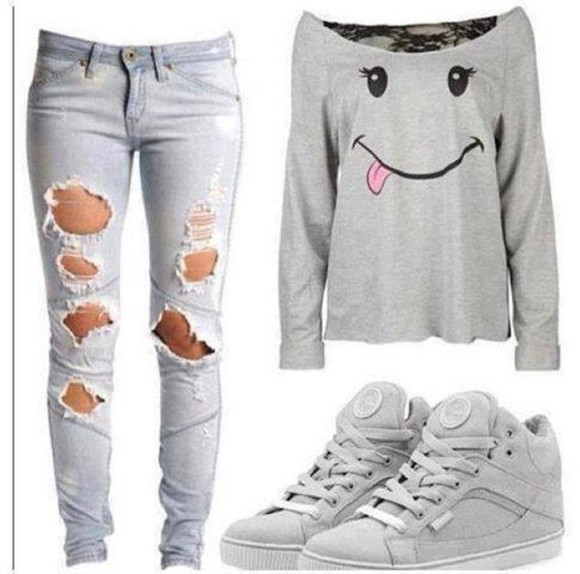 jeans ripped jeans smiley face shoes grey demin sweatshirt nike