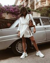 dress,white dress,wrap dress,short dress,shoes,white sneakers,sneakers