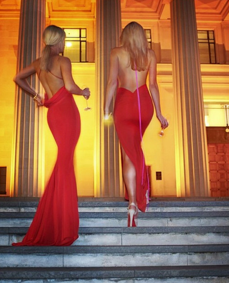 backless dress red dress evening dress mermaid dress