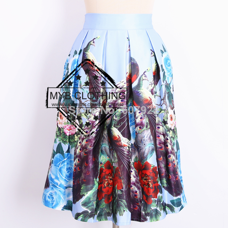 New 2014 Autumn Winter Vintage Chinese Style Peacock Floral Print Pleated Midi Skater Skirt Saia For Women Girl 14709-in Skirts from Apparel & Accessories on Aliexpress.com