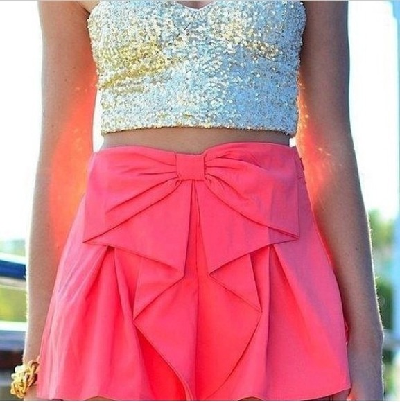 skirt pink gold sparkle tank top