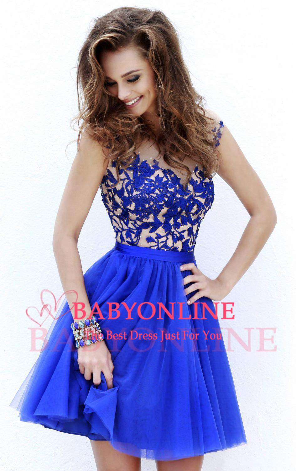 Aliexpress.com : Buy New Arrival Red Royal Blue Chamnpagne Short Lace Appliques Organza Cocktail Dresses 2014 Scoop Cap Sleeve Deep V Back Party Gown from Reliable dress ball gown suppliers on Suzhou Babyonlinedress Co.,Ltd