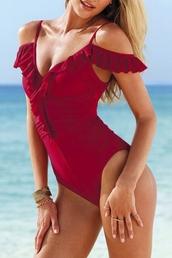 swimwear,beautiful halo,burgundy,fashion vibe,style,sexy,beautiful,off the shoulder,cute,girly,fashion,one piece swimsuit,off the shoulder swimsuit