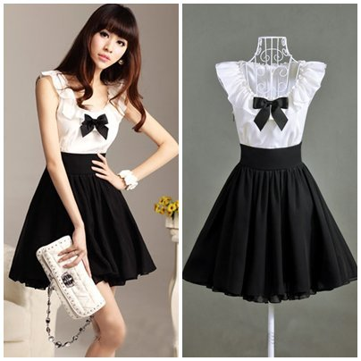 New 2014 black white color patchwork ruffles collar bow knee length slim cute women pleated chiffon party dress plus size S XL-in Apparel & Accessories on Aliexpress.com